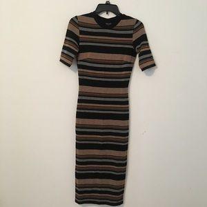 TOPSHOP Striped Sweater Midi Dress Black